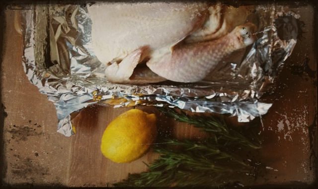 Whole chicken, lemon, and thyme for the easiest roasted chicken