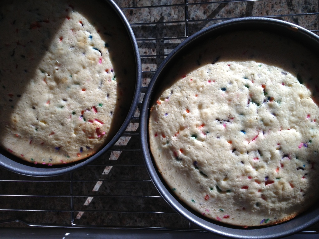 Confetti cakes on cooling rack