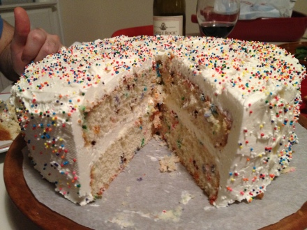 The party continues on the inside with little dots of colorful sprinkles.