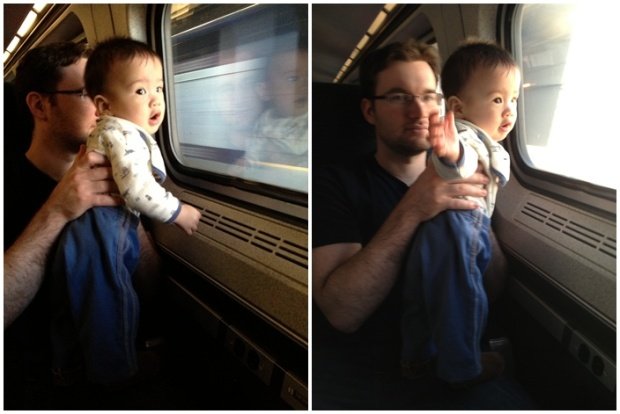 Baby enjoying his first train ride. No way he was going to sleep through this.