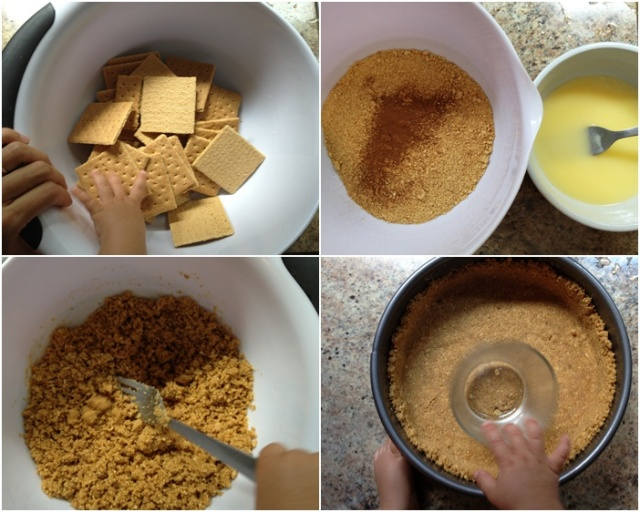 Making the graham cracker crust