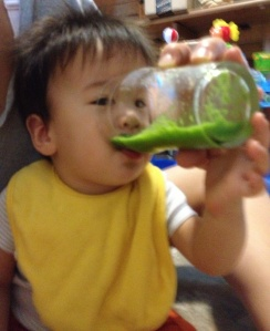 Baby loves his green smoothie