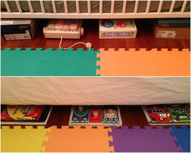 Store shoe boxes of toys and puzzles and block under the sofa and the crib.