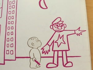 Harold draws a policeman and asks him for directions.